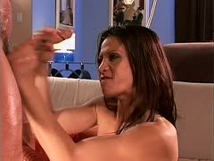 Jayna Oso wanks the cock hard to be fucked