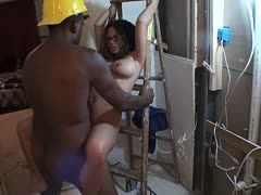 Black construction worker bangs her crazy