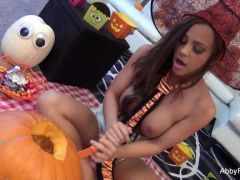 Porn star Abigail Mac masturbates at Halloween