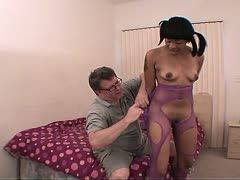 Nerd detains a black sex slave in net nylons