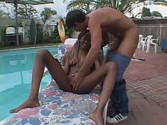 Hot interracial sex at the pool