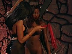 Hot lesbian bondage with ebony sluts