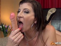 Milf porn star Sara Jay sucks and rides rubber cock
