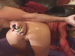 Oily anal stretching games in the living room