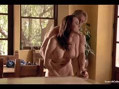 Chanel Preston bangs in the kitchen and her daughter watches her