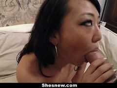 Asian orgasms during the blowjob