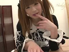 Asian tranny in a maid's costume anal bangs an old guy
