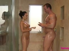 Erotic shower with chubby Asian