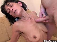 Granny sex with cum on wrinkled tits