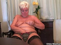 Hairy pussies of grannies are dildo fucked