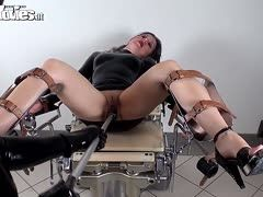 Latex extreme! Black rubber slave fucks her mistress with dildo
