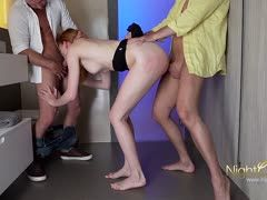 Two boys bang the cute bitch orally and into her ass