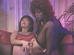 Lesbian retro cunts penetrate their hairy 70ies pussies