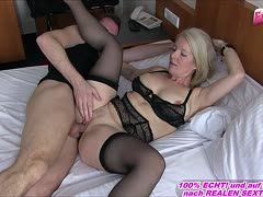 Horny German milf Kissi Kisse with suspenders is fucked by her neighbor