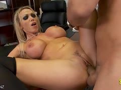 Boss is keen on his new secretary's big tits