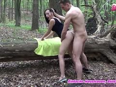 German Maxipeter fingers her cunt and is fucked in the forest