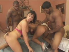 Cream is jizzed during the interracial gangbang