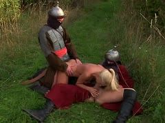 Virgin forced to a medieval threesome