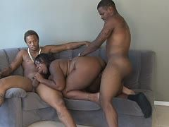 Black trio with fat-assed ebony