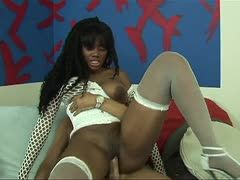 Hot ebony is penetrated during a sex casting