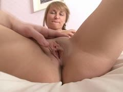 Blondie has a freshly shaven snatch