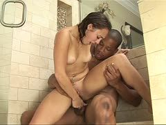 Interracial fucking in the shower