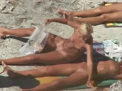 Hot lesbians nude at the beach