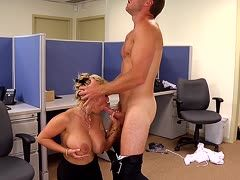 Holly Halston is boned by an employee