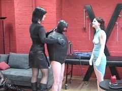 Mistresses pump their latex slave up