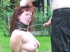 Golden shower for mature slave