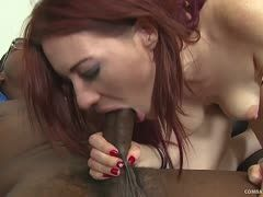 Jessica Ryan sucks a Negro's cock