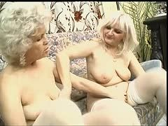 Grannies bang with double-ended dildo at a resthome