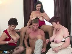 Cool foursome with three lusty old ladies