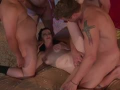 Hot gangbang with hot milf