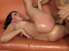 Mandy Muse's oiled ass gets hard strokes
