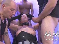 German slut enjoys a bukkake party