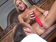 Cuckold loser is allowed to watch her dildo sex