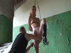 German nurse gets hogtied in a teardown house