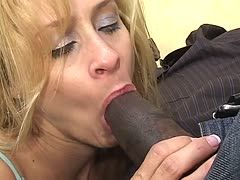 Colored mega prick barely fits into the Latina's mouth