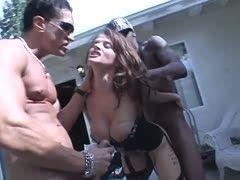 Hot interracial threesome with Joslyn James